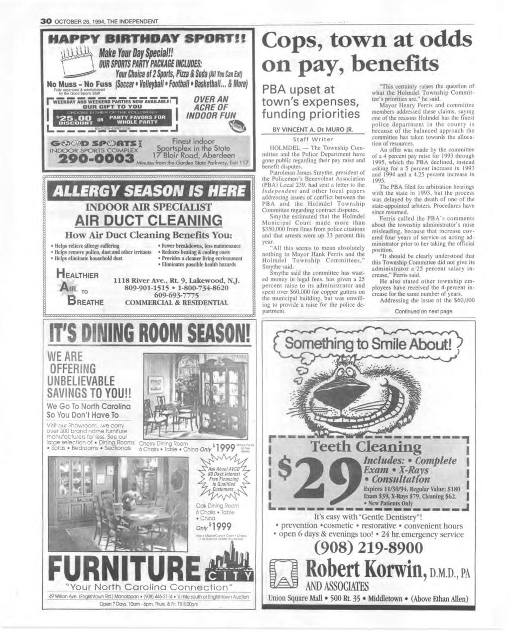 3 0 OCTOBER 26, 1994, THE NDEPENDENT Make Your toy Special!! m spouts pmpmec incms: four Choiceof 2 Sports, Pisa i Sotli /ill m Cmtm No Muss - No Fuss Soccei Volletball Foothell Basketball.
