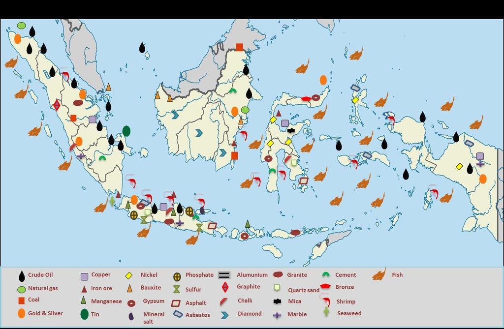 Diverse, abundant natural resources Back Indonesia's abundance and variety of commodities is a vital asset to the country's economy.