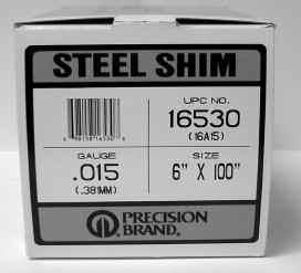 "Steel Shim Stock 6"" x 100"" Rolls 12-Pak Steel Shim Assortment Part No. 942-095 Price $ 00.00 Thickness Part No. Price.001 942-005 $ 00."