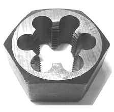 "Dies High Speed Steel Left Hand 1"" OD Dies High Speed Steel Left Hand 1-1/2"" OD Manufactured in Europe Dies Carbon Steel Hexagon USA Size Part No. Price 6-32 241-305 $ 00.00 8-32 241-310 $ 00."
