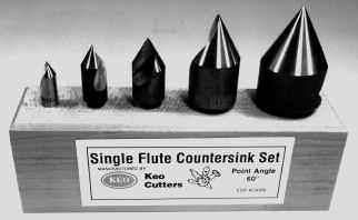Single Flute Countersinks High Speed Steel Shank Overall Incl. Size Dia. Length Angle Part No. Price 1/4 1/4 1-1/2 60 180-005 $ 00.00 1/4 1/4 1-1/2 82 180-010 $ 00.00 1/4 1/4 1-1/2 90 180-015 $ 00.