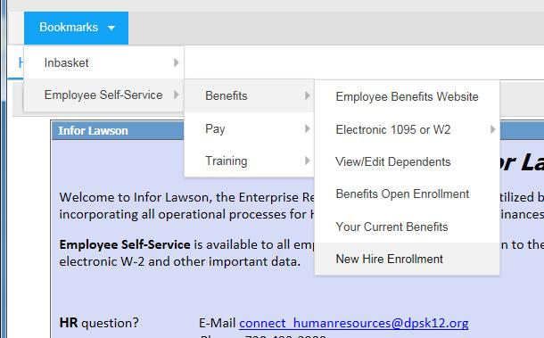 "3. Click on Bookmarks for ""Employee Self- Service"", then ""Benefits"". If you need to include dependents in your enrollment, first click on View/Edit Dependents."