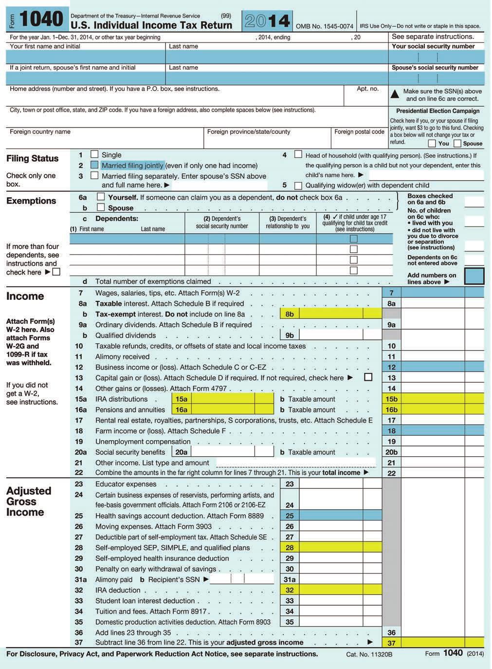 Sample Irs Form 1040 Theresa And Frank Roberts Pdf