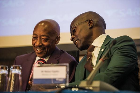 SARS Commissioner Tom Moyane and finance minister Malusi Gigaba in Pretoria in 2017.