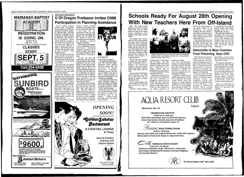 PAGE 6-M ARIANAS VARIETY NEWS AND VIEW S-FRIDAY, AUGUST 25,1989 MARIANAS BAPTIST REGISTRATION IS GOING ON.