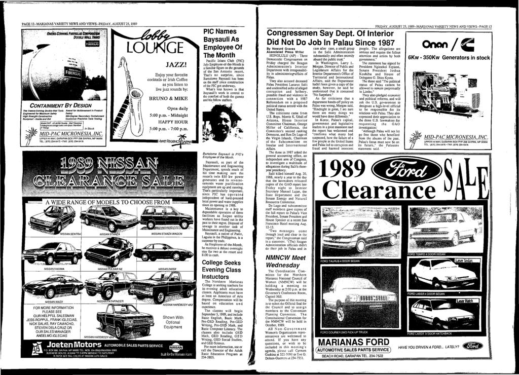 PAGE 12-M ARlANAS VARIETY NEWS AND VIEW S-FRIDAY, AUGUST 25,1989?» Joeten Motors AUTOMOBILE SALES PARTS SERVICE P.O. BOX 680. SAIPAN. MP 96950 TEL. NOS.