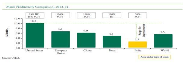 In India, the yield is half of the global average.
