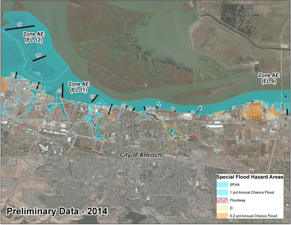Bay Area Coastal Area of Mitigation Interest - Antioch 2009 FIRM: Zone AE 9 along Bay shoreline 2014 BAC Study Preliminary FIRM: Zone AE 9 12 along Bay shoreline The coastal analysis results for