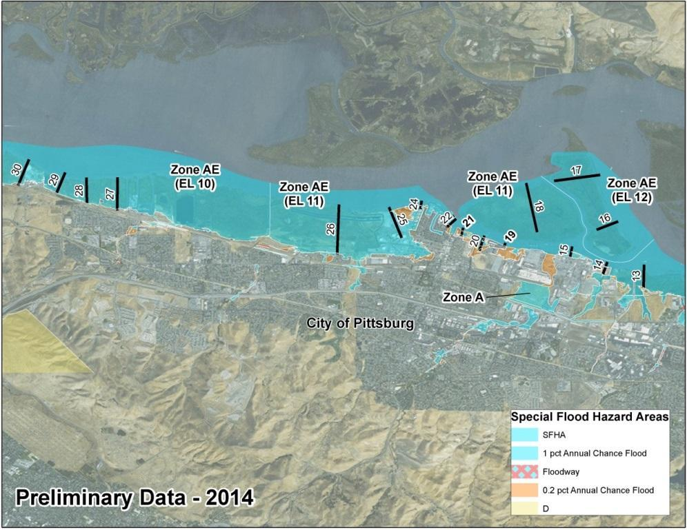 Bay Area Coastal Area of Mitigation Interest - Pittsburg 2009 FIRM: Zone AE 9 10, with some Zone A along the Bay shoreline 2014 BAC Study Preliminary FIRM: Zone AE 10 12, with some Zone A along the