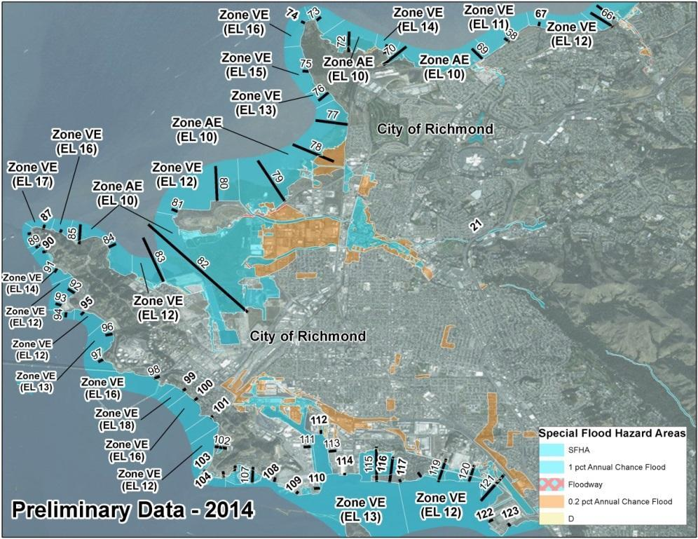 Bay Area Coastal Area of Mitigation Interest - Richmond 2009 FIRM: Zone VE 9 and along the Bay shorelines 2014 BAC Study Preliminary FIRM: Majority of Richmond as Zone AE 10, with Zone VE 11 17 along