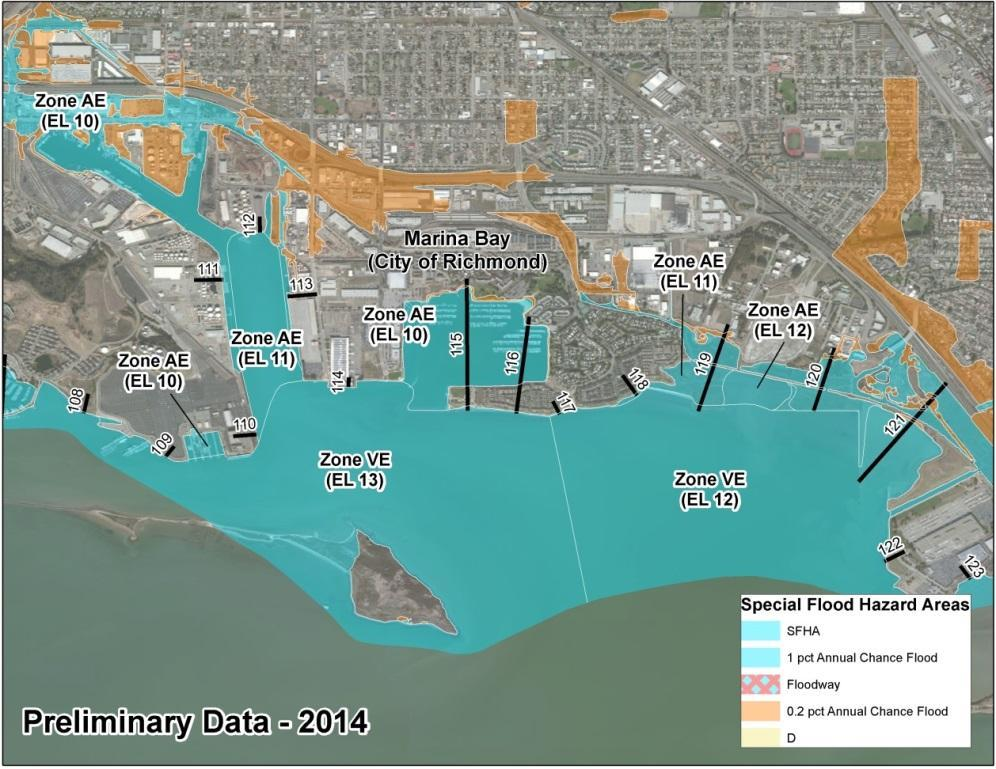 Bay Area Coastal Area of Mitigation Interest - Richmond 2009 FIRM: Zone VE 9 and AE 19 along the Bay shoreline 2014 BAC Study Preliminary FIRM: Zone AE 10-12, with Zone VE 12 13 along the Bay