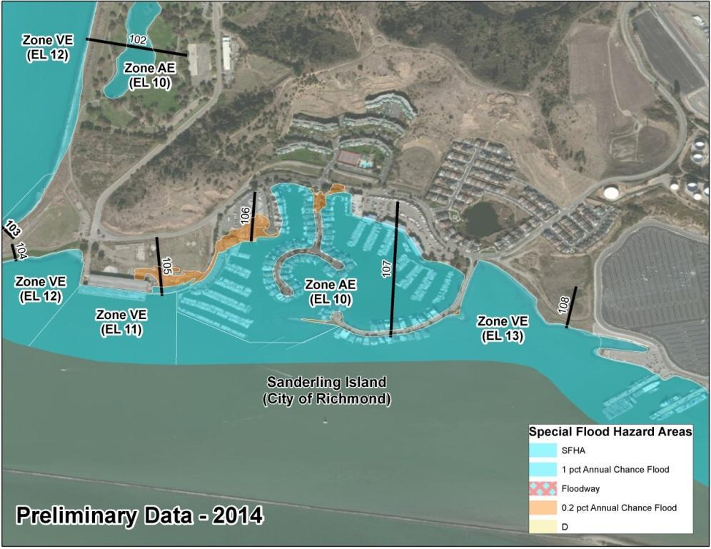 Bay Area Coastal Area of Mitigation Interest - Sanderling Island 2009 FIRM: Zone AE 9 and Zone VE 9 along the Bay shoreline 2014 BAC Study Preliminary FIRM: Zone AE 10 and Zone VE 11 12 along the Bay