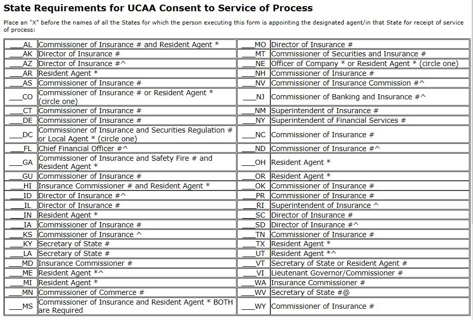 UCAA Expansion Insurer Uniform Consent to Service of Process For some states, notification of a lawsuit against a company doing business in that state must first be sent to the insurance commissioner