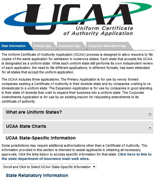 UCAA Expansion Insurer The State Information tab on the UCAA website includes the State-Specific Requirements.