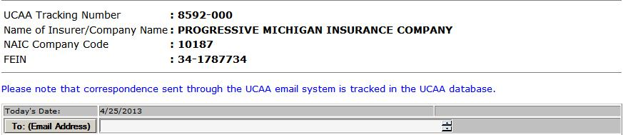 UCAA Expansion Insurer Use the To: (Email Address) button to select an addressee. Choose from the defined list.
