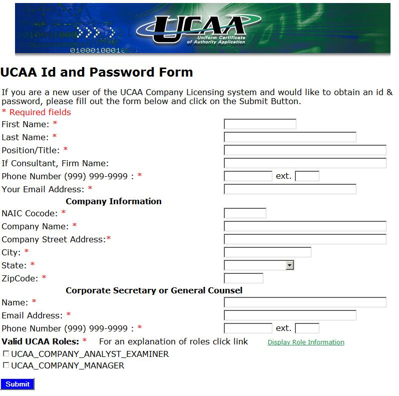 To request a UCAA ID and password complete the UCAA ID and Password form, choose a valid UCAA role, and click Submit.