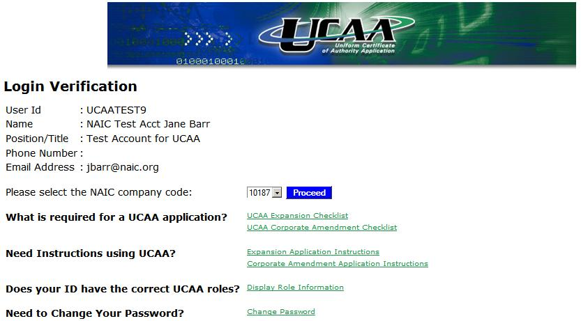 UCAA Expansion Insurer A login verification screen opens with the user information.