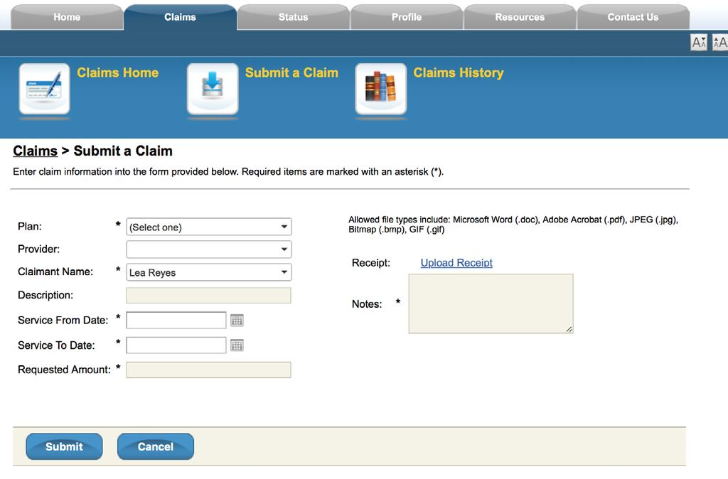 STEP 3: Click Submit to enter your claim. PAUL TESTCASE STEP 4: A Claim Confirmation Receipt report will be displayed.