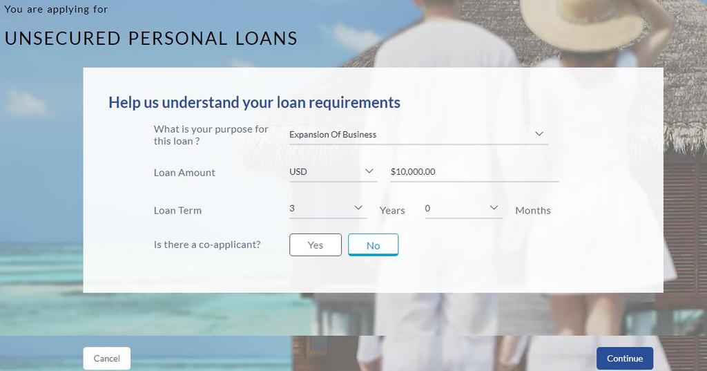3.3 Loan Requirements Field Help us understand your loan requirements What is your purpose for this loan?