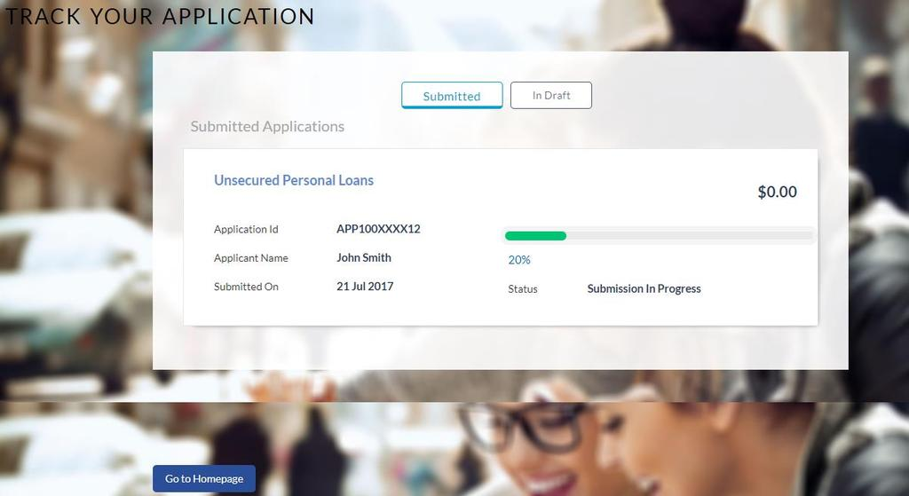 Application Tracker 4. Application Tracker The Application Tracker enables you to view the progress of submitted applications and also to retrieve and complete applications that have been saved.