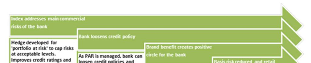 Figure 3: Portfolio insurance theory of change Source: (BFA, 2013) However, whilst this model would address the basis risk issues and cost of delivery, certain drawbacks do come with this approach