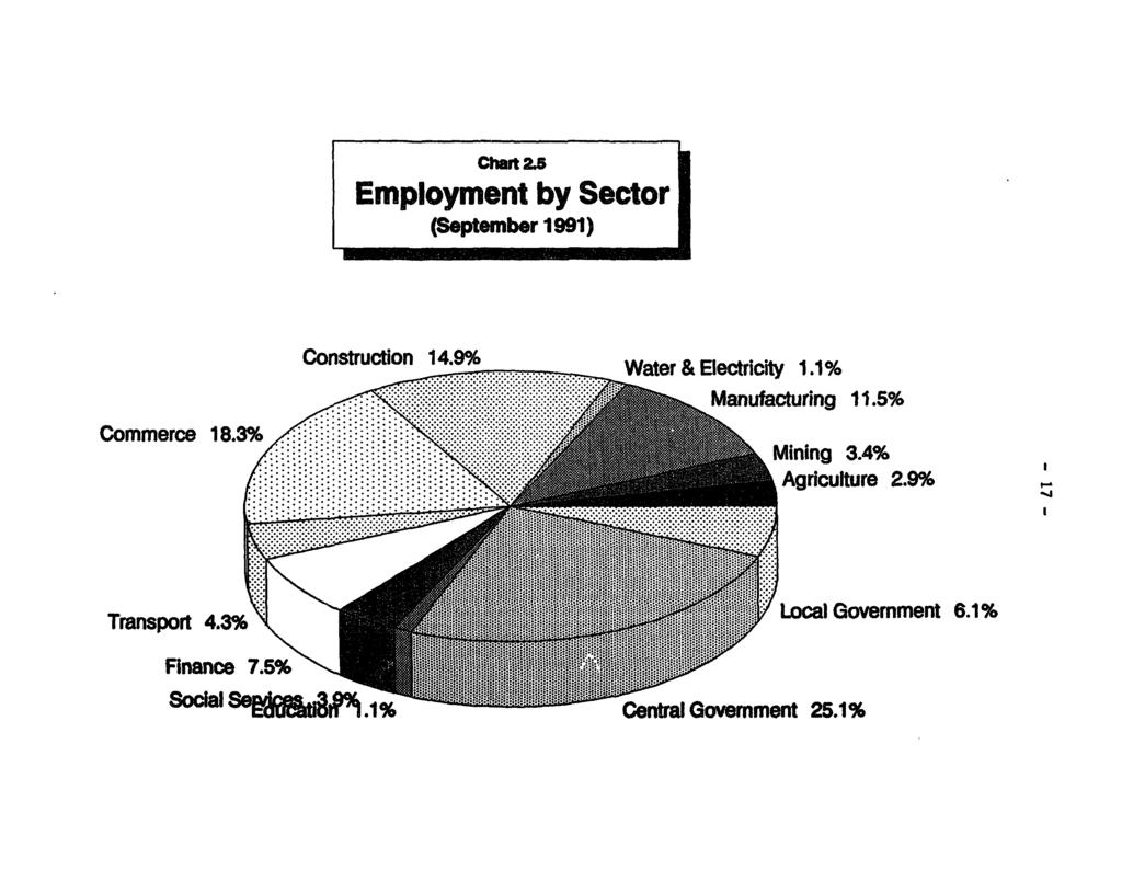 ct 25 Employment by Sector (September 1991) Construction 14.99 Water & Electricity 1.1% Mauf-acturi'ng 1 1.