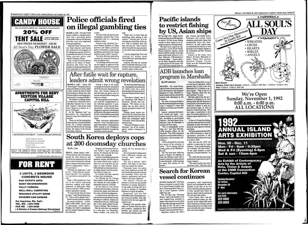 2-MARIANAS VARIETY NEWS AND VIEWS-FRIDAY-OCTOBER 30,1992 TWO LOCATIONS TO SERVE YOU - GARAPAN & CHALAN KANOA 2 0 % OFF TENT SALELOCATED IN CHALAN KANOA NEXT TO Ml.