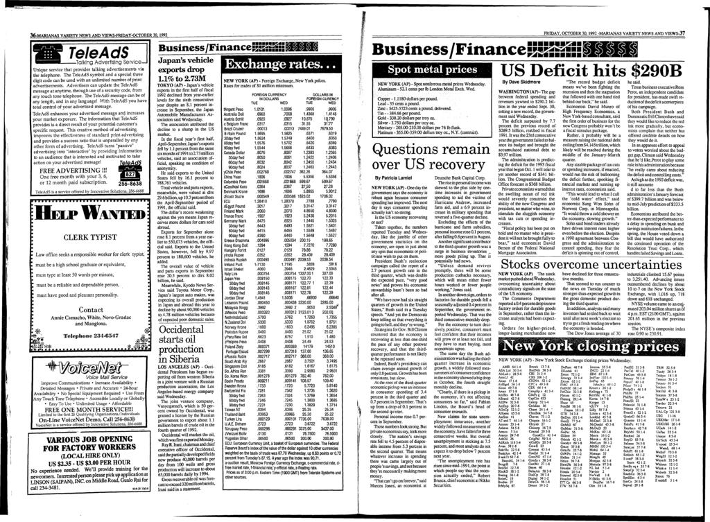 36-MARIANAS VARIETY NEWS AND YIEWS-FRIDAY-OCTOBER 30.1992 Tele AdS -Talking Advertising S e rv ic e - U nique service th at provides talking advertisem ents via the telephone.
