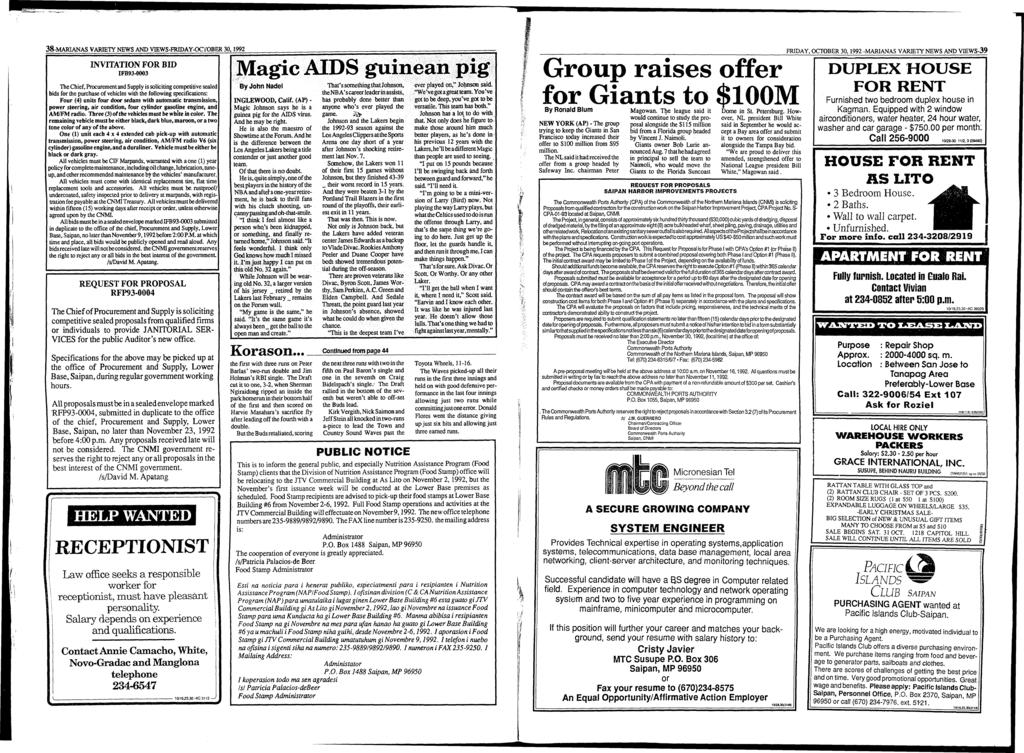 38-MARIANAS VARIETY NEWS AND VIEWS-FRIDAY-OCTOBER 30,1992 INVITATION FOR BID IFB93-0003 The Chief, Procurement and Supply is soliciting competitive sealed bids for the purchase of vehicles with the