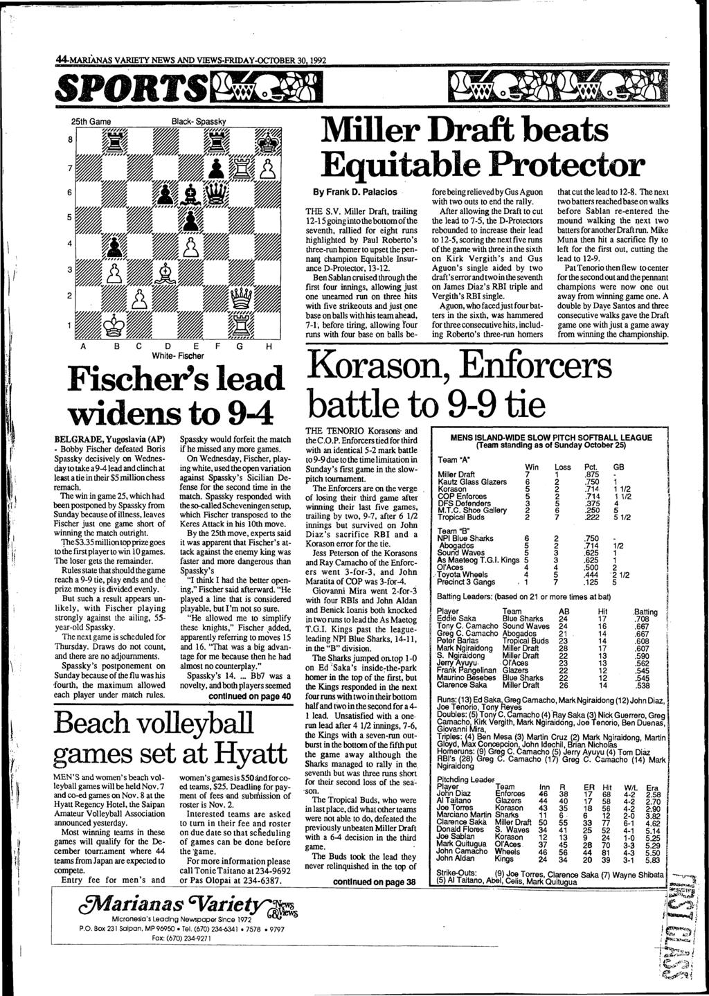 44-MARIANAS VARIETY NEWS AND VŒWS-FRIDAY-OCTOBER 30,1992 SPORTS 25th Game Black- Spassky Ш Щ.. / у,,,,, Ш Л ' # ш w m.