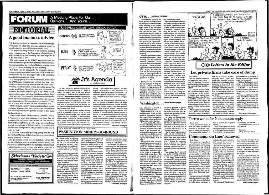 4-MARIÀNAS VARIETY NEWS AND VffiWS-FRIDAY-OCTOBER 30.1992 j-a ^ ÿÿavp «W * <>*<.