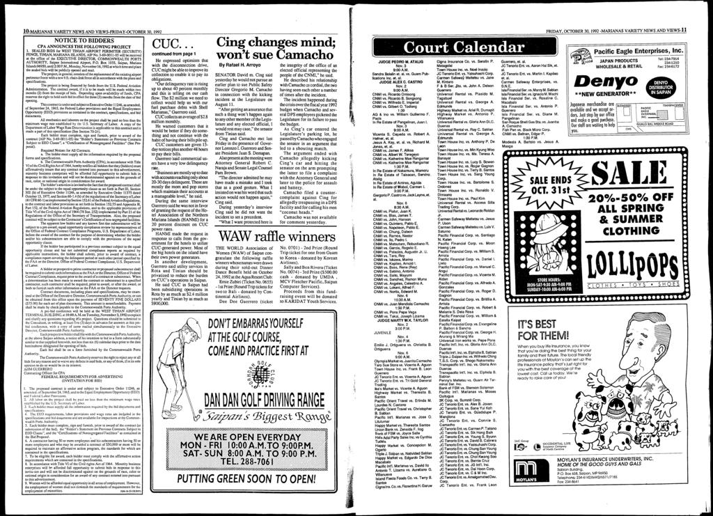 10-MARIANAS VARIETY NEWS AND VffiWS-FRIDAY-OCTOBER 30,1992 NOTICE TO BIDDERS CPA ANNOUNCES THE FOLLOWING PROJECT 1.