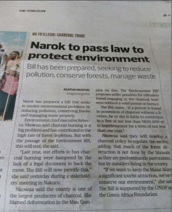 Figure 1: News article on Narok Environment Bill 2017 and the Certificate of Registration of Kenya's 1st Charcoal Producers Federation Sustainability Plans Through working with national institutions