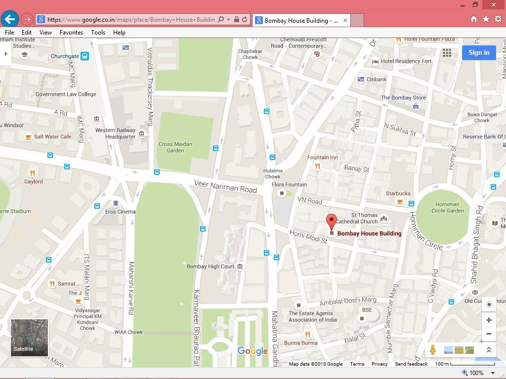 Route Map and prominent landmark for EGM Venue * Address of Venue: Board Room, 4 th