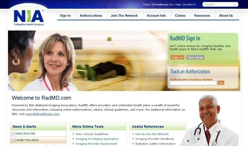 NIA Website: Imaging Facilities User-friendly, near-real-time Internet tool offered by NIA o Log on to www.radmd.
