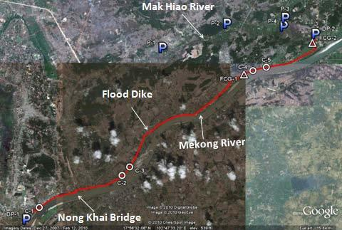 3 elevations of top level of flood dike are designed considering the 100-year return period flood levels of the Mekong River at Vientiane and ng Khai stations and considering 0.5m free board. C.