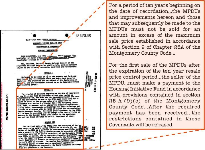 A-3 FIGURE A.1.2 Example Deed Restriction NOTE. This figure shows an example deed restriction for an MPDU originally sold by the developer on October 20, 1995.