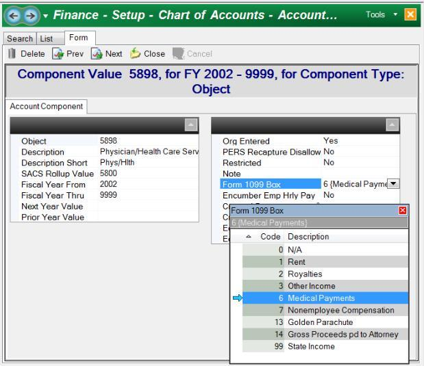 Review Account Component Setup Escape allows you to control to which box a vendor s payments are reported by specifying the applicable object codes for each box.