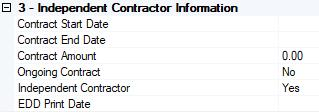 Description Step 3: - Enter the Independent Contractor Information, if any.