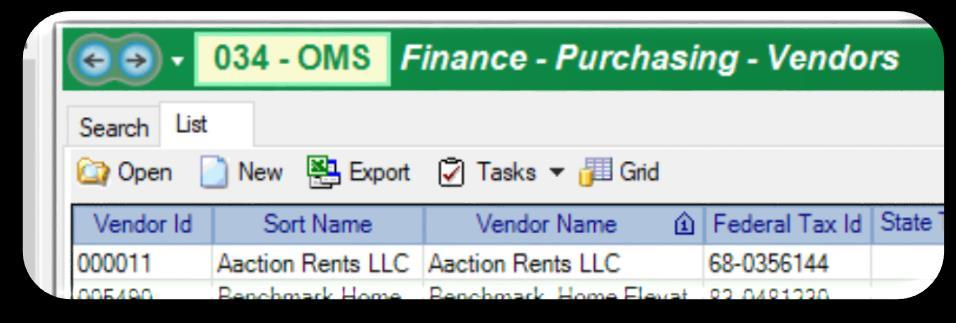 Vendor Record Search #2 Exporting your list to Excel to verify that your district does not have