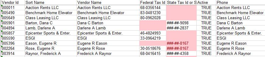 Excel to view the export a) High light the Federal Tax Id and State Tax Id Column b) Select