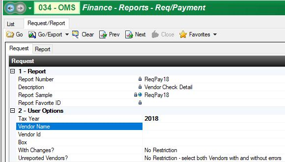 ReqPay18 Vendor 1099 Check Detail For District Review Only, DO NOT SUBMIT About the Report The report provides a listing of those vendors who will be receiving 1099s from your district.