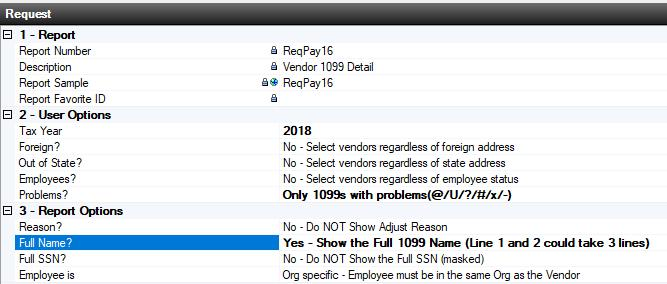 ReqPay16 Vendor 1099 Detail About the Report The report provides a detailed list of vendors who will be receiving 1099s from your district.