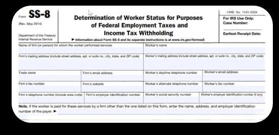 Federal IRS Form SS-8 This form can be submitted by the Worker or the District The IRS Decision is Binding (must be followed) Federal Common Law rules to used when making a determination: Behavioral