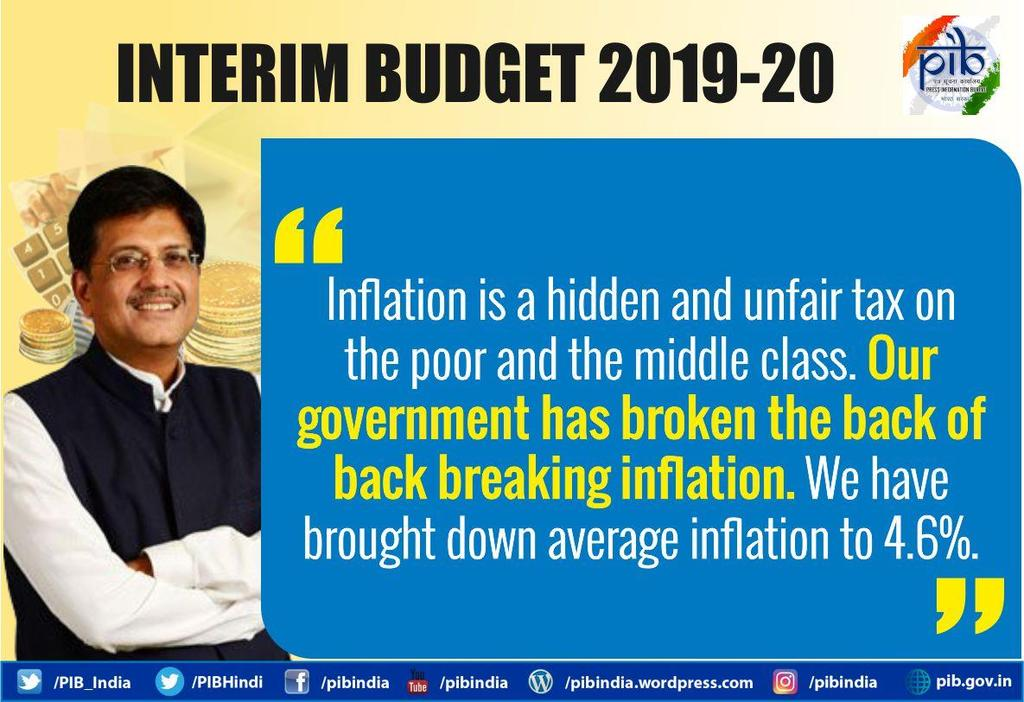 Fiscal Deficit The fiscal deficit has been brought down to 3.4% in 2018-19 RE from the high of almost 6% seven years ago, the Finance Minister mentioned.
