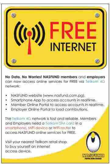 Free Internet Access for NASFUND Members and Employers NASFUND is pleased to inform its members and employers nationwide that they can now access the Fund s range of digital online services for FREE
