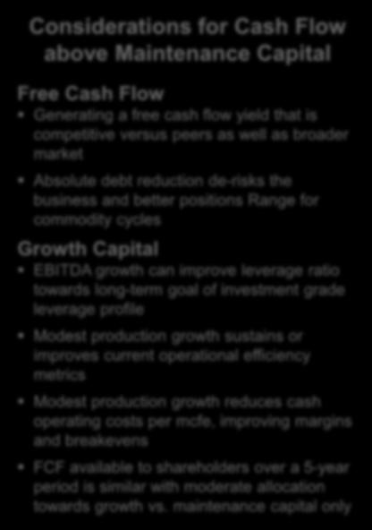% of Operating Cash Flow Low Maintenance Capital Supports Sustainable Free Cash Flow 100% 90% 80% 70% 60% 50% 40% 30% 20% 10% 0% FCF Yield Maintenance Capital ~6% y/y growth Hold 4Q18 Production Flat