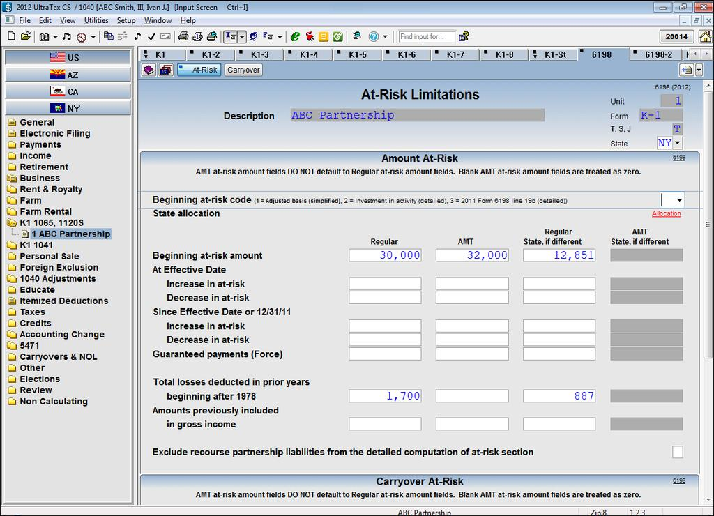 DATA-ENTRY EXAMPLES FOR STATE ALLOCATION INFORMATION